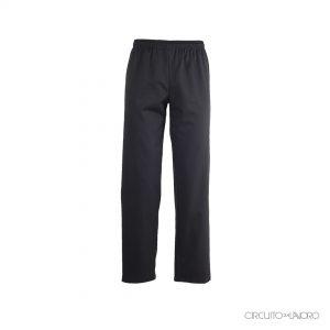 Pantalone da chef con elastico, laccio interno e una tasca dietro. TESSUTO: 35% cotone 65% poliestere certificato oeko-tex.